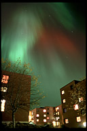 Northern lights over Moholt student village in Trondheim